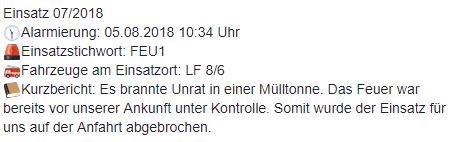 Einsatz 07/2018